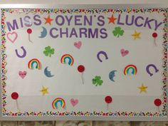 March bulletin board! My lucky charms!