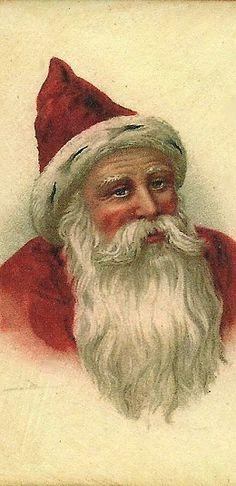 . vintage christmas, father christmas, old cards, christma postcard, saint nichola, happi christma