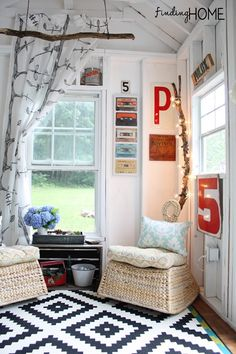 Love the letters and branches!  - DIY Playhouse & Pool House For Our Teens