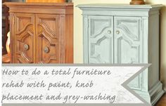 How to rehab furniture and move knobs Now I am going to start looking for dated furniture to redo!