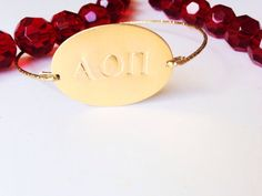 Greek Custom Hand Stamped Oval Bracelet by SHUNTLA on Etsy, $12.00