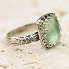 Prehnite and Sterling Silver Ring.