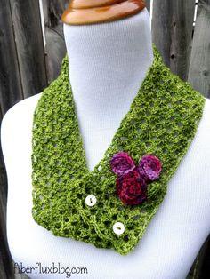 Vintage Corsage Cowl, free crochet pattern from Fiber Flux