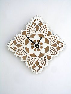 white doily clock from uncommon