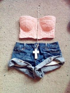 Furthering my crop top and high waisted shorts obsession