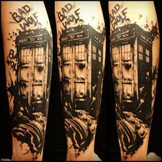 Amazing Doctor Who Tattoo...except in color...at least the TARDIS