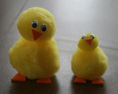 cute baby chicks with yellow pom-poms and a few other simple materials