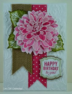 pretty Stampin Up Regarding Dahlias & Label Love card by Susan Joyce