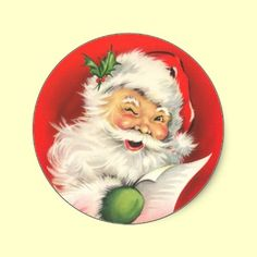 Victorian cards lovingly restored.  Perfect Santa sticker for your Christmas cards. Old Fashion Christmas stickers for your retro Christmas cards! Great stocking stuffers too!