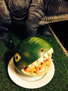 Zac's wild things T-Rex dinosaur party carved watermelon dinosaur meet, thing parti, dinosaur party, dinosaur parti, carv watermelon