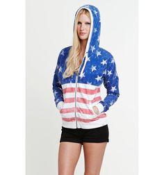 Amazon.com: La Hearts Womens Americana Zip Hoodie: Clothing