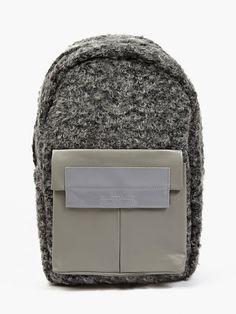 Eastpak x Nicomede Grey Shearling and Leather Fleury Backpack   oki-ni