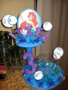 Little Mermaid Party centerpieces, Little Mermaid Birthday Party Banners, Lettering and Balloon decorations