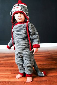 Sock Monkey Coverall Set Crochet Pattern PDF