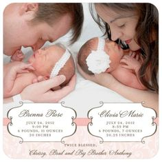 Our twin girls are here! Announcing Olivia Marie and Brenna Rose :) http://www.theperfectpalette.com/2012/08/birth-announcement-my-twin-girls.html