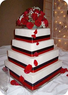 red black and white wedding cakes