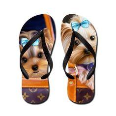 Yorkies Lola and Coco Flip Flops