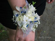 Wrist Corsage - mixed white flowers accent with blue bling.