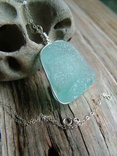 Aqua Sea Glass Necklace Channel Set in Sterling by TidalCreations, $39.00