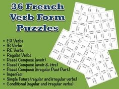 36 French Verb Form Puzzles.  Over 50% Discount!