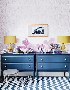 blue, dresser, chest of drawers