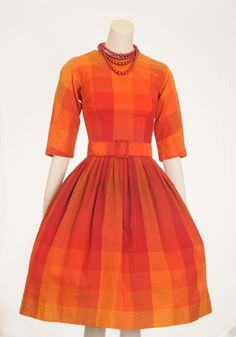 1950s AUTHENTIC VINTAGE GiGi Young New York Red and Orange Checkered Full Skirt - Perfect for gender bending Wreck It Ralph...