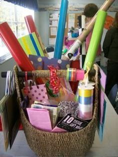 "Wrapping paper/supplies gift basket  ""It's a Wrap"" Name"