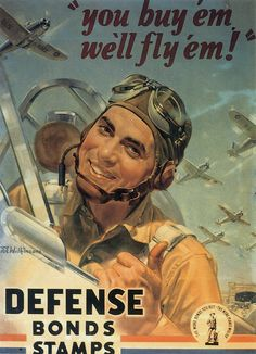 WWII US Army Pilot War Bonds Poster