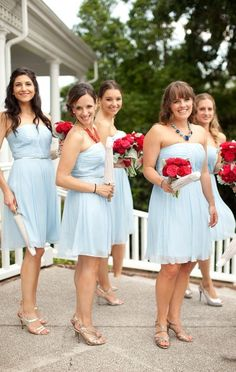 Light blue bridesmaid dresses with contrasting bouquets. Photographed by Paula Player Photography blue dress bridesmaid, wedding planning, bridesmaids dresses light blue, light red bridesmaid dresses, light color bridesmaid, floral designs, light blue bridesmaids dresses, light blue bridesmaid dresses, bridesmaid dresses light blue