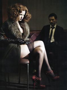 Vogue Italia - Paolo Roversi   brunette   sexy   dominatrix   sexy   hot   male   female   suit   stockings   lingerie   fur   leather gloves   www.republicofyou.com.au