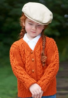 This stylish cable #knit cardigan is a timeless piece that kids will love. Shown in Patons Classic Wool DK Superwash.