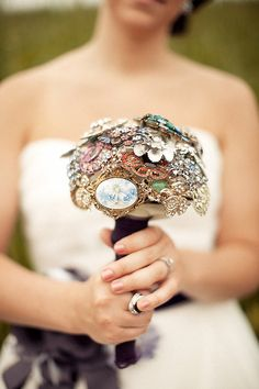 jeweled broach bouquet