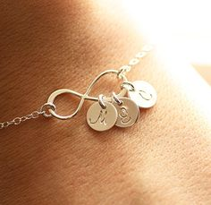 LOVEEE THIS. Infinity Bracelet Three Initial Bracelet Sterling by BijouxbyMeg, $36.00  Kid's initials? Or Husband? Or Bridesmaids? Endless possibilities