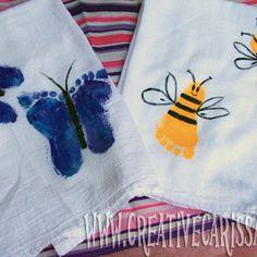 baby footprint crafts   Craft Roundup: Baby Shower DIY Gifts