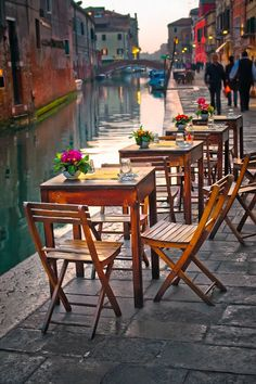 Venice, By the Canal by Neil Cherry ♥ ♥ www.paintingyouwithwords.com dinner, dream, coffee, beauti, venice italy, lunch, travel, place, itali