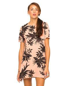 Motel Petal Shift Dress in Two Tone Floral Peach