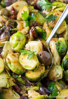 Braised Brussels Sprouts with Sun-Dried Tomatoes, Artichokes, and Olives - A Spicy Perspective