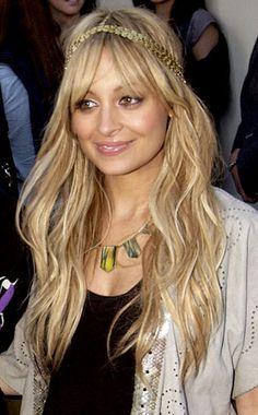 Long blonde locks celebrity style, nicole richie, nicol richi, hall of fame, hair hall, beauti, hairstyl, boho wave, bang