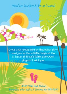 Luau birthday party or engagement party invitations from TheCelebrationShoppe.com ~ #pink #green #habiscus #tiki #flipflops