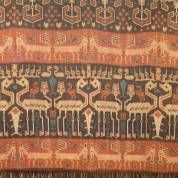 Cotton ikat shouldercloth with images of horses and deer, -small damages-, 250 x 150 cm, SUMBA hors