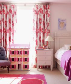 If your daughter wants an all-pink room, make it pink using accents like curtains and bedding. That way you can change things easily as her mood changes. [Photo by Mel Yates]