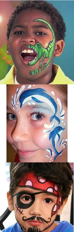 Fantasy makeup kid´s face painting parties. Love the pirate one.