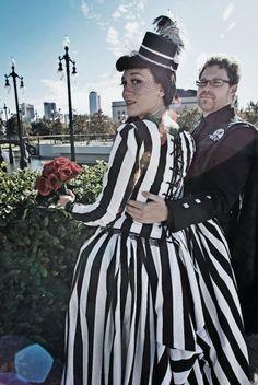 Striped wedding dresses make me clap my little hands together | Offbeat Bride