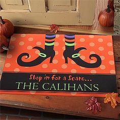 Stop In For A Scare Personalized Doormat