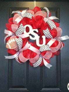 OSU Football Deco Mesh Wreath on Etsy, $60.00