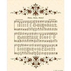 HOLY, HOLY, HOLY --- 8 x 10 Antique Hymn Art Print On Natural Parchment In Sepia Brown Ink on Etsy, $5.00