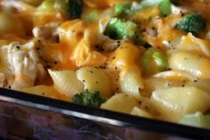 Alfredo shells and cheese with Broccoli and Chicken
