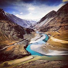 Leh, India. The Sangam of Indus & Zanzakar Rivers