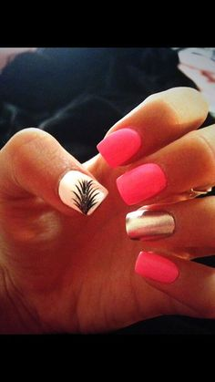 Pretty nail art decorated with a feather!