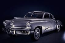 """""""Unveiled in 1946 in a series of sketches, the Tucker Torpedo, as the sedan was called, hurtled into the future: With its swooping lines, the car appeared almost as if it were moving, even when standing still."""" ~Dec2012Smithsonian"""